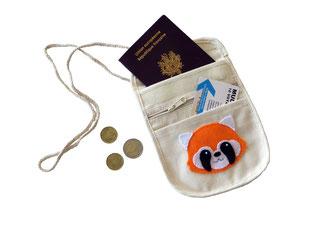 Pochette tour de cou, panda roux, pour enfant, en coton et feutrine, pour transporter passeport, argent, en voyage