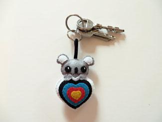 Cadeau tir à l'arc, porte clé koala, kawaii, dans une cible, en feutrine, fait main, cadeau pour archer