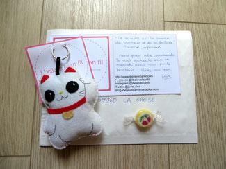 Chat porte-bonheur japonais en feutrine cousu main