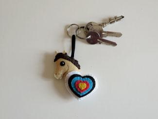 Porte clé cheval arc, cible de tir à l'arc, en feutrine, fait main, cadeau fête des mères