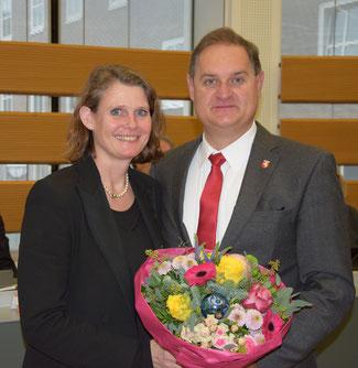 LWL-Landesrätin Judith Pirscher und Fraktionsvorsitzender Arne Hermann Stopsack