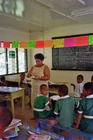 Schulklasse in Sote, Fiji, wo ich Englisch unterrichtet habe.