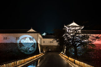 彦根城佐和口の「城あかり」プロジェクトマッピング