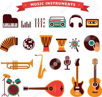楽器写真をクリックすると 楽器カラオケ曲リスト 表示。