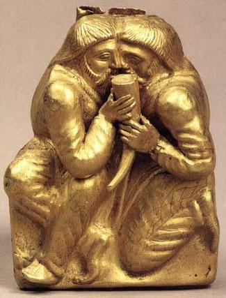 Скіфська церемонія «Побратимство» (золота пластина,IV ст. до н. е, Крим