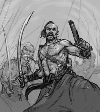 Художнє зображення козака-характерника в бою