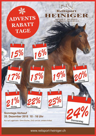 Reitsport Heiniger - Flyer Advents-Rabatt-Tage