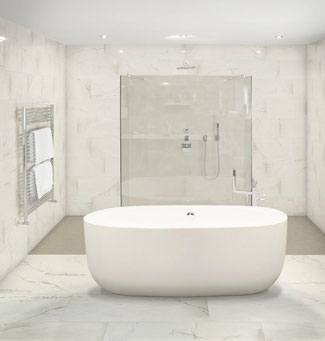 Bathroom with a white soaking tub.