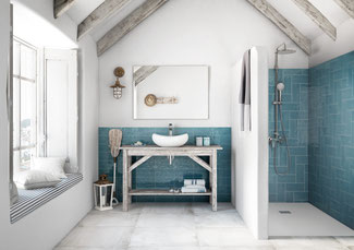 Bathroom with blue ceramic wall tiles in the shower and behind the vanity, with white porcelain tiles on the floor.