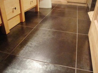 Large tiles on a bathroom floor