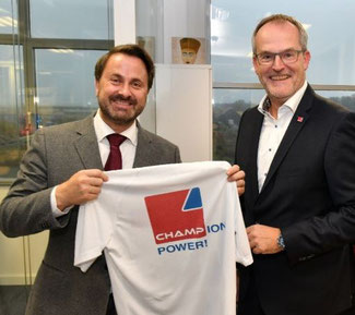 LUX PM Xavier Bettel has become a member of the CHAMPion Power club. Company chief Arnaud Lambert welcomed the prominent guest at CHAMP's HQ