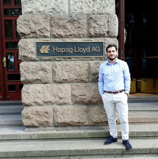 Marcelo Saravia standing in front of Hapag-Lloyd's HQ in Hamburg  -  photos: private