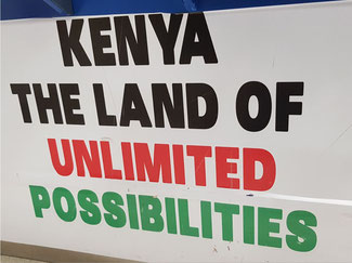 Kenyan self-observation seen at the arrival area of Jomo Kenyatta Airport, Nairobi