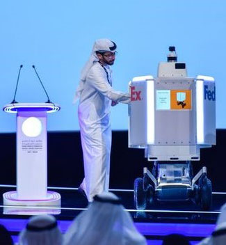 FedEx robot Roxo is presented at an event in Dubai  -  company courtesy