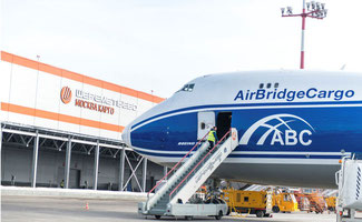 An ABC freighter standing in front of Moscow Cargo, Sheremetyevo Airport's largest and most modern freight facility