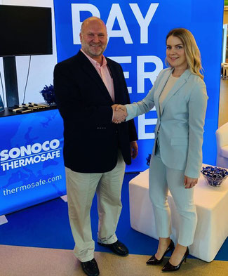 Christopher Day, Director of Business Development & Innovation at Sonoco, and Yulia Celetaria, Global Director, Pharma at ABC
