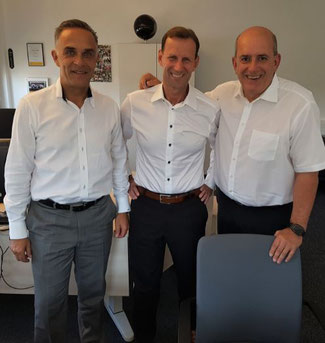 Discharging fees will torpedo FRA's role as leading cargo hub, claim the SLV officials (l to r) Hendrik Khezri, Thorsten Hoelser, and Volker Oesau  -  photo: hs