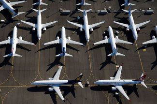 Grounded Boeing 737 MAX aircraft parked at Boeing Field in SEA, 01JUL19. Image: LINDSEY WASSON/REUTERS