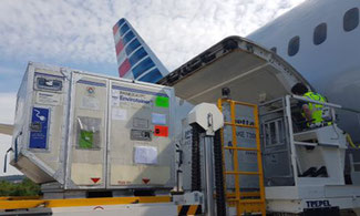 Pharma being loaded into cargo-only flight from ZRH to PHL  -  Image: American Airlines