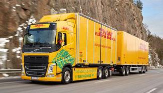 Greener road transport on trial in Sweden  -  Image: DHL/Volvo Trucks