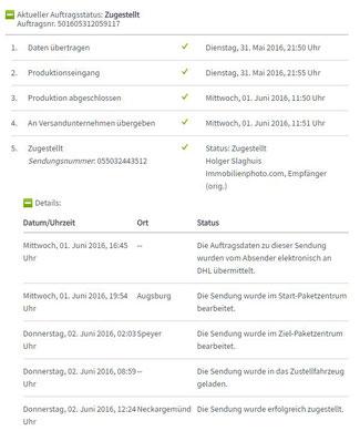 Screenshot der Statusverfolgung auf der Seite des Herstellers
