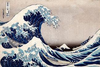 Katsushika Hokusai - La grande onda presso la costa di Kanagawa, dalla serie Trentasei vedute del monte Fuji, 1830-1832 circa - Silografia policroma, Kawasaki Isago no Sato Museum