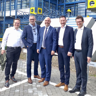 v.l. Björn Bock, Dr. Werner Pfeil MdL, Michael Essers, Stephen Paul MdL und Christoph Pontzen
