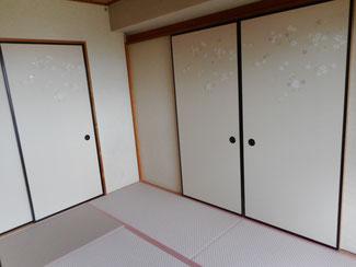 畳と一緒にふすまも張替 襖の張り替え施工例