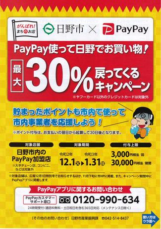 畳替えにPayPayが使える 日野市PayPay使って30パーセント戻ってくるキャンペーン