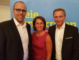 Von links nach rechts: Jörn Freynick, Nicole Westig, Christian Lindner