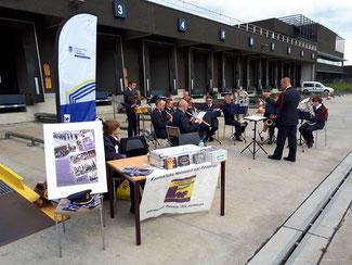 Het Combo-ensemble van de Harmonie in actie op de Vlaamse Havendag, Antwerpen GIP Linkeroever september 2017