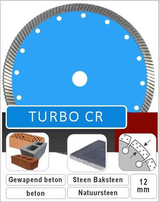 diamantzaagblad met volband turbosegment voor splintervrij zagen van algemene bouwmaterialen en natuursteen