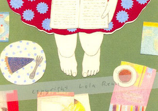 Postkarte Bücher, Kaffee, Kuchen, Lola Renn