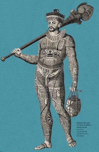 Habitant distingué de l'île de Noukahiva, tatoué et armé. Gravure - cliché des Beaux Arts. CHARTRES