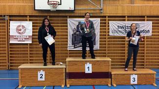 Schweizermeisterschaft Einzel Damen-Podest 2019: v.l.n.r.: 2. Dara Ladner, 1. Claudine Boyer, 3. Anja Grässli
