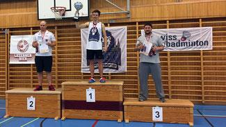 Schweizermeisterschaft Einzel Herren Podest: v.l.n.r.: 2. Emanuel Meier, 1. Stefan Zedi, 3. Remo Bivetti