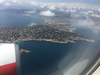 Aerial view of Cannes - approaching Nice airport