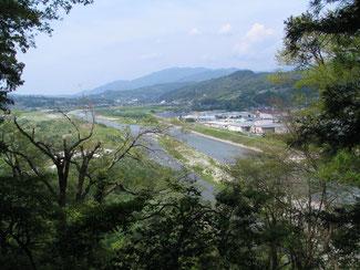 ▲大島城跡から北に天竜川を望む