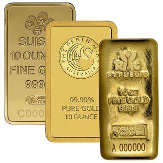 10 Unzen Goldbarren