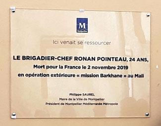Plaque en hommage au brigadier-chef Ronan Pointeau - anocr34.fr