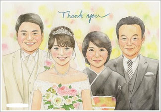 結婚式贈呈 家族の似顔絵