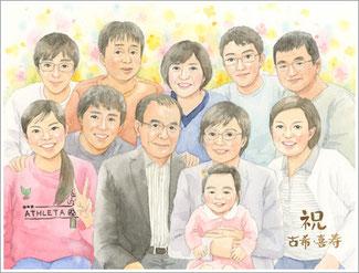 古希・喜寿のお祝い 似顔絵プレゼント