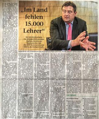 Staatssekretär Mathias Richter über die erledigten und angefangenen Aufgaben im Schulsystem NRW; RZ vom 28.1.2019