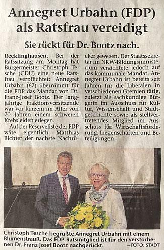 Langjähriges Ausschußmitglied Annegret Urbahn wurde vereidigt, RZ v. 3.10.2018