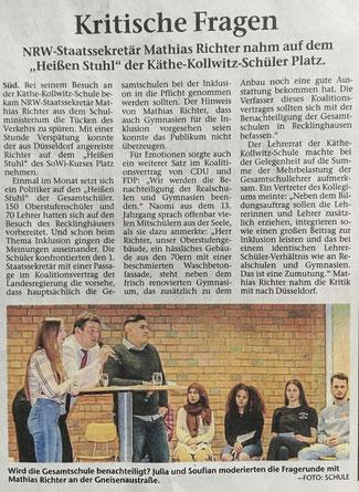 FDP:  Diskussionen in der Käthe-Kollwitz-Schule, RZ v. 3.4.2019