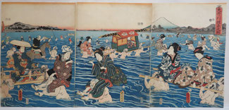 浮世絵,豊国,大井川,徒渡し,富士山,