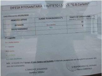 Pesticidi - All'istituto Cerletti Ditianon per il frutteto