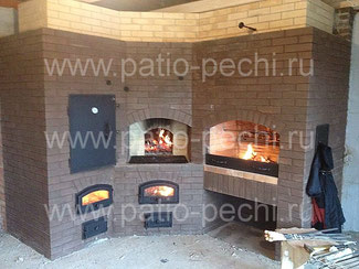 Барбекю комплекс с коптильней, мангалом, вертелом, генератором углей, русской печью