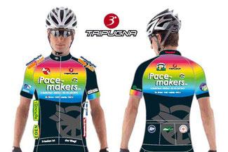 Das Trikot zur Aktion: Bekleidungspartner 3*Tripugna bietet das Pacemakers Berlin Trikot im neuen Design plus Radhose © 3*Tripugna