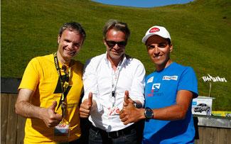 Promotoren der Challenge-App für Tirol (v.l.n.r.): Josef Bernhart (EURAC-Bozen) mit Thomas Pupp (Team-Manager und Landesrat a.D. für Sport) und Thomas Rohregger (Ex-Profi und ORF-Kommentator) © Sabine Jacob/EURAC